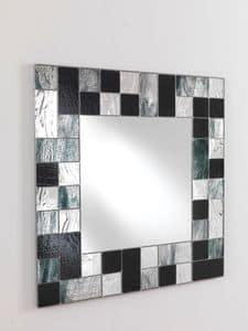 Specchio 05, Square mirror, with mosaic glass frame