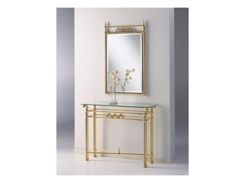 VIVALDI 1092 MIRROR, Classic mirror in polished brass, for residential use