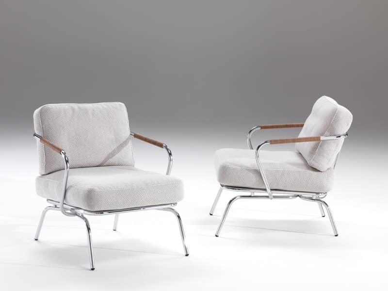 Alice, Comfortable armchair with exposed steel structure