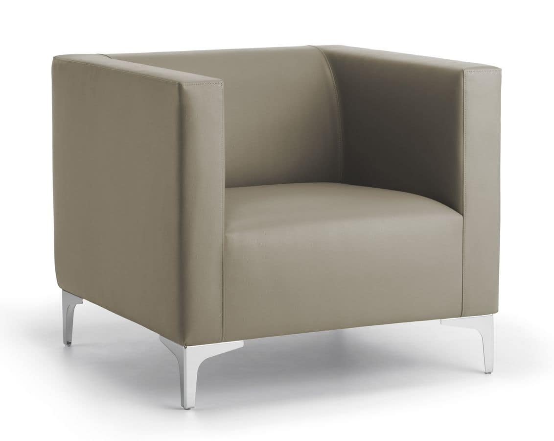 Argo Light 01, Overstuffed armchair, steel base, for office and waiting room