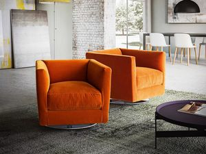 Dolcevita armchair, Armchair with modern lines, metal swivel base