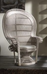 Armchair Emanuele, Ethnic armchair made with rattan frame