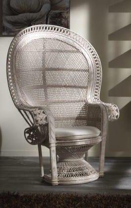 Armchair Emanuele, Ethnic armchair made with rattan frame