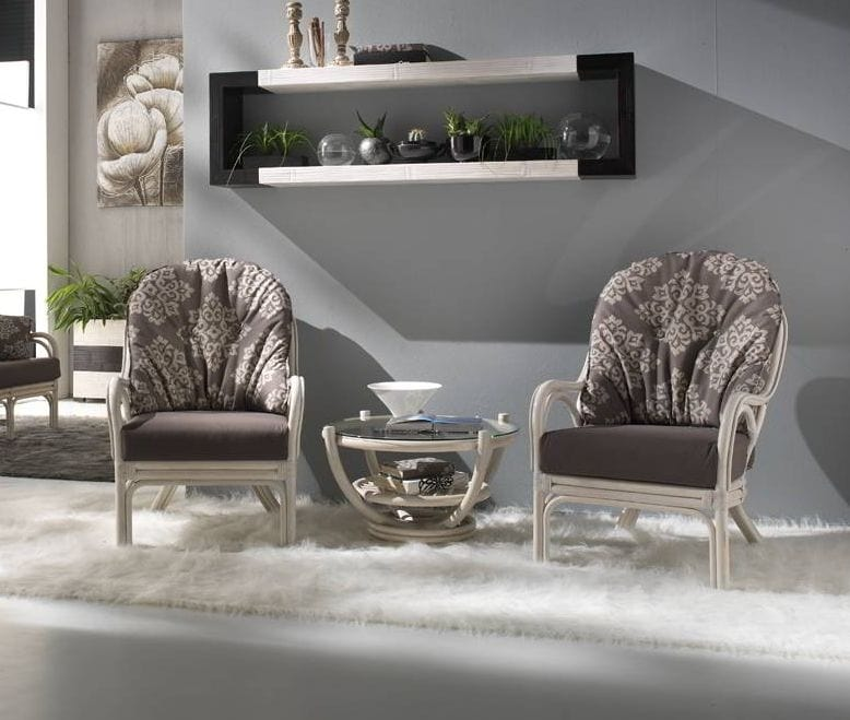 Armchair Galileo, Ethnic armchair in white rattan