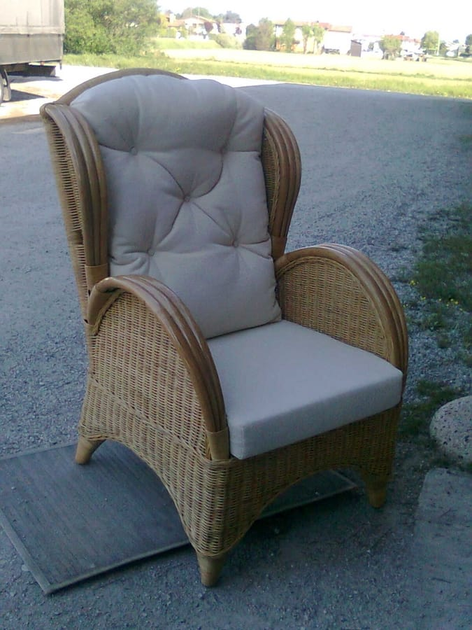 Armchair Midollino, Ethnic bergere armchair in wicker