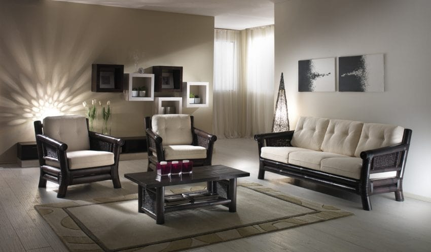 Armchair Osaka black, Ethnic armchair with woven structure