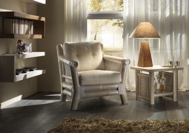 Armchair Osaka white pickled, Ethnic armchair with cushions