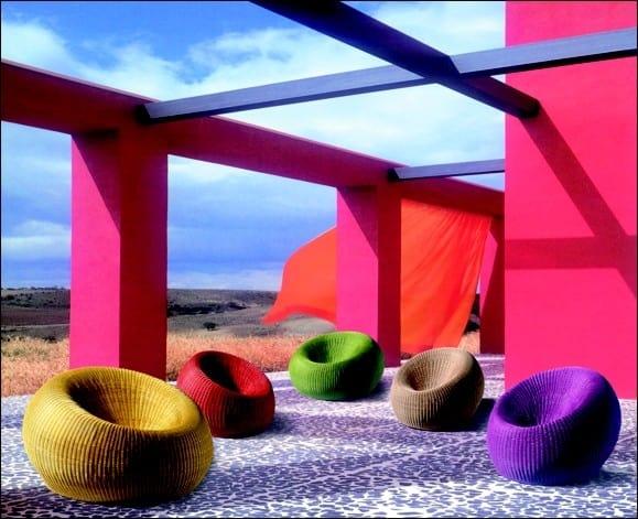 Armchair Sfera, Small colored wicker armchair