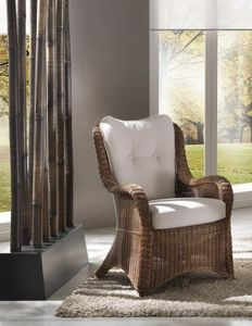 Armchair Vinci, Ethnic armchair in antique wicker