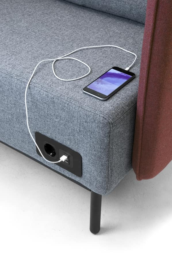 Around USB armchair, Upholstered armchair with electrification with USB sockets