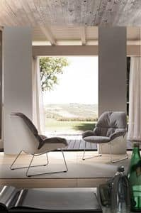 Art. 390 Gretel, Armchair in chromed metal and polypropylene, with cushion