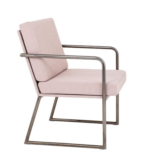 Art.Hellen armchair, Modern metal armchair for contract and office