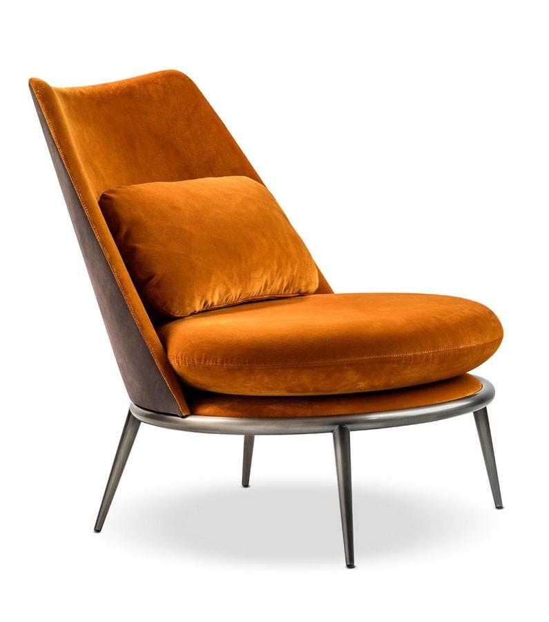 Aurora armchair, Padded armchair with decorative pillow