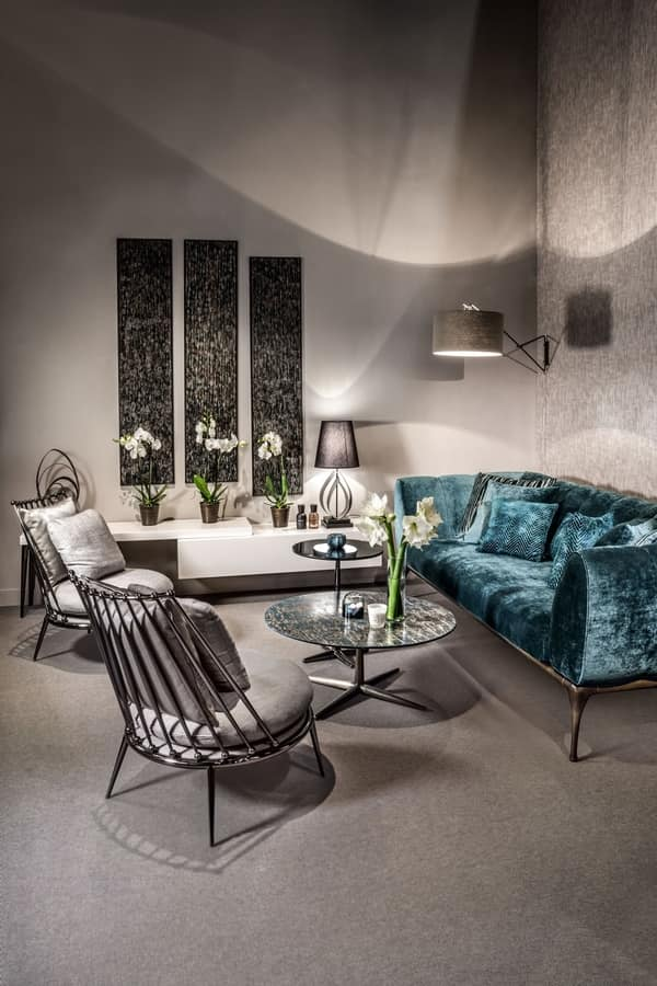 Aurora iron backrest armchair, Armchair with slatted backrest