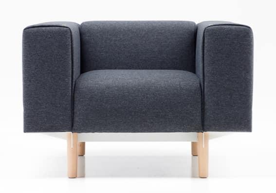 Bread 1p, Overstuffed chair in polyurethane, legs in oak