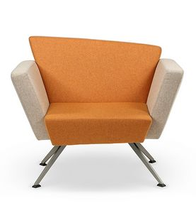 CORNER C1B, Square armchair, four metal legs, for living room