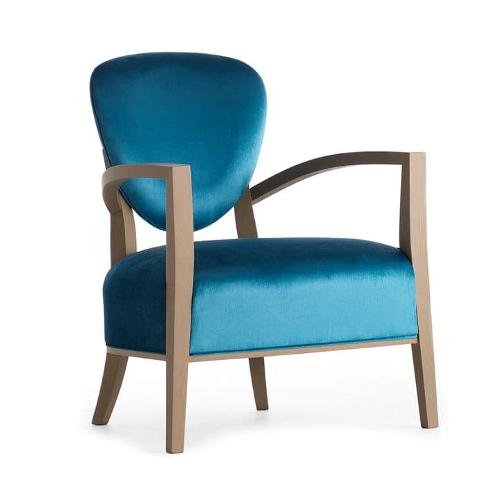 Cammeo 02641, Solid wood armchair, upholstered seat and back, fabric covering, modern style