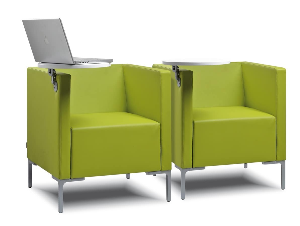 CUBIS POLTRONA, Armchair with square lines,with little table