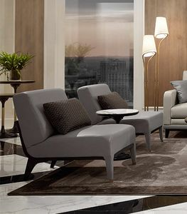 Dilan Art. D81, Armchair without armrests, in gray leather