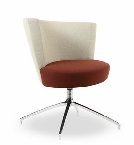 EL1, Modern armchair with circular seat, 4-star base