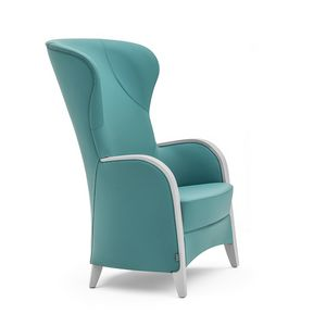 Euforia 00143, Armchair in solid wood, upholstered seat and back, wooden armrests, modern style