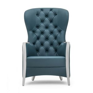Euforia 00143K, Armchair in solid wood, upholstered seat, back quilted, wooden armrests, modern style