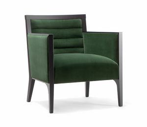 GINEVRA LOUNG CHAIR 031 P, Armchair in solid wood, upholstered