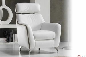 Ginger, Modern armchair with adjustable high back and steel feet