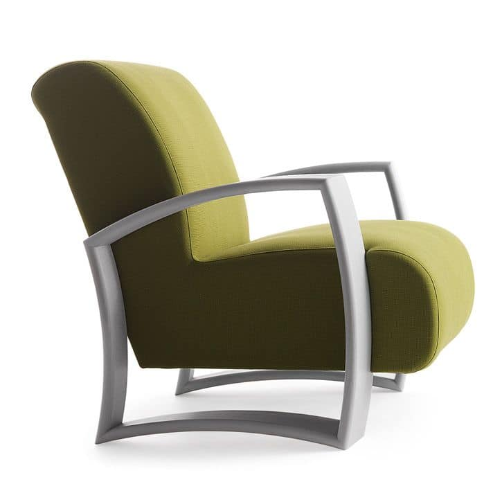 Harmony 01241, Armchair with wooden frame, upholstered seat and back, fabric covering, modern style