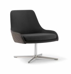 JO LOUNGE CHAIR 058 P X, Armchair with metal cross base