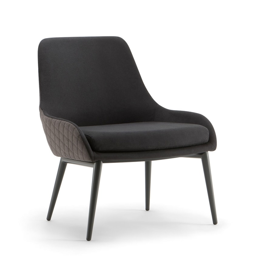 JO LOUNGE CHAIR 058 PL, Armchair with metal legs