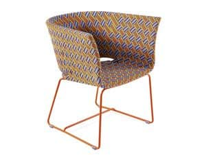 Kente armchair, Armchair in coloured metal, multicolor woven