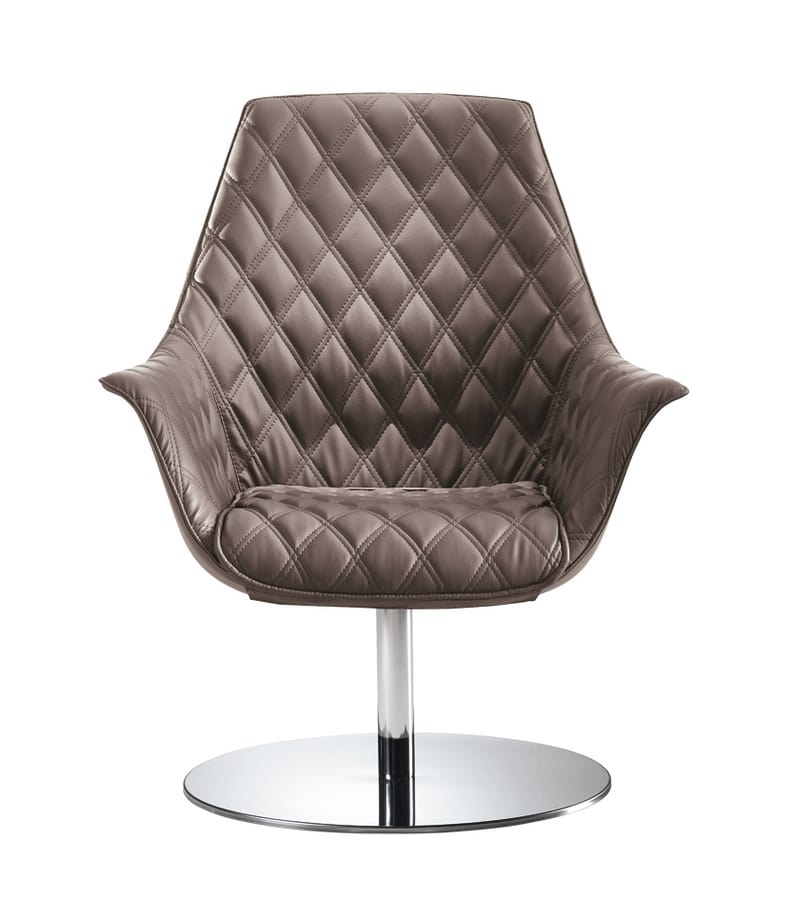 Kimera Relax, Swivel tufted armchair with chromed metal base