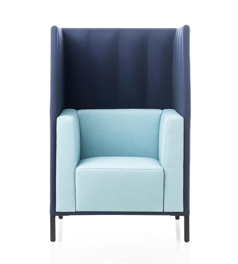 Kontex armchair with high backrest, Armchair with high backrest for greater privacy