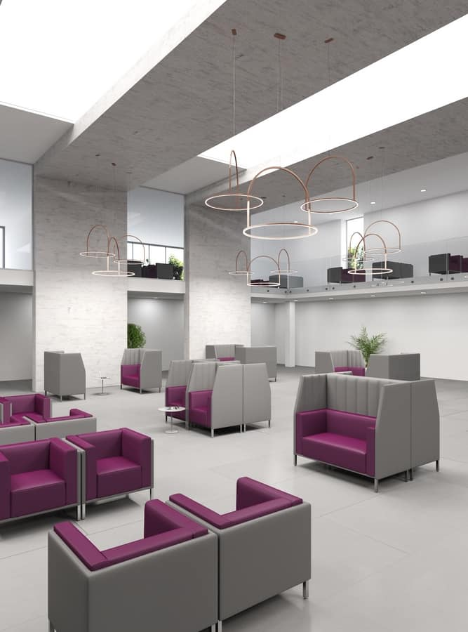 Kontex poltrona, Comfortable padded armchair for waiting room