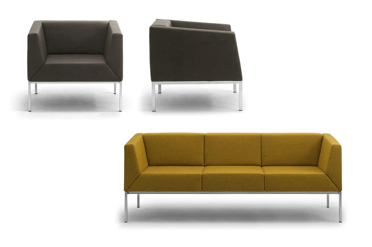 Kos armchair, Armchair and sofa with metal legs and upholstered seat