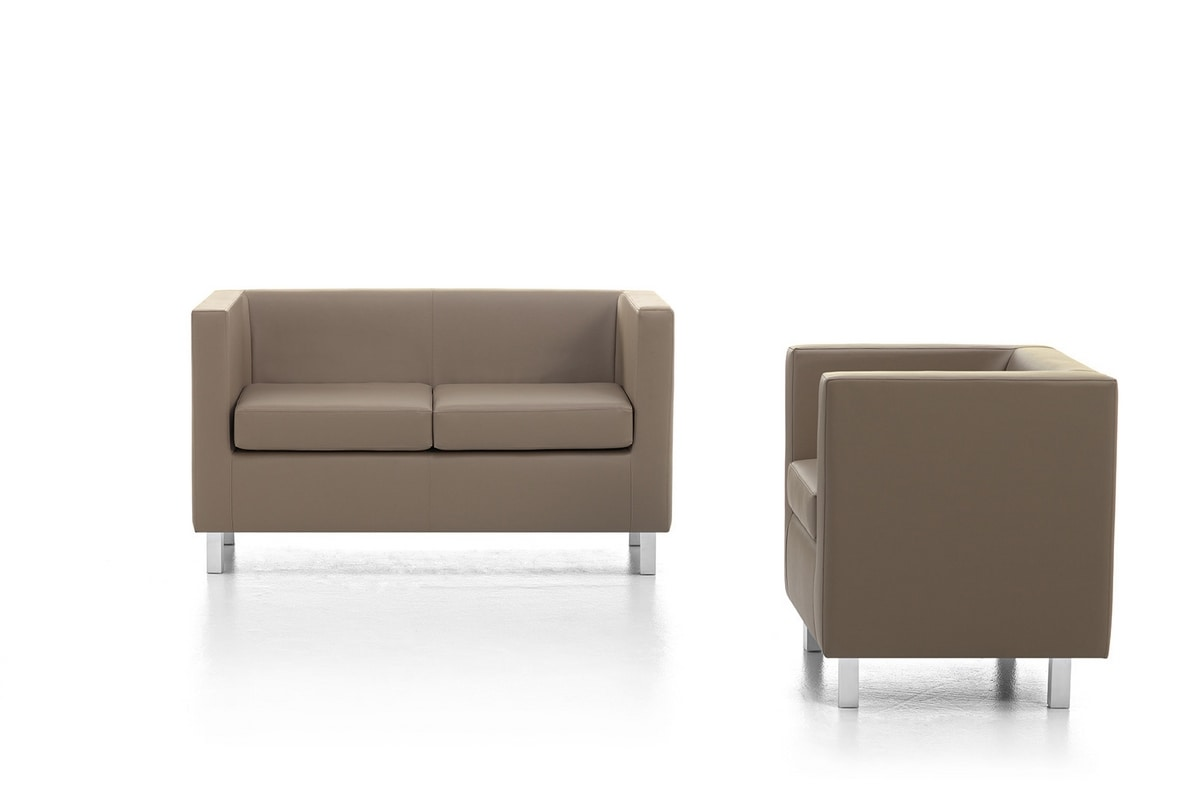Kubo 01, Comfortable armchair, chrome legs, for Office