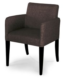 MADRID, Squared armchair upholstered in velvet