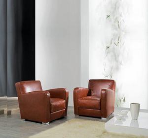 MARIAN, Leather armchair with chrome feet