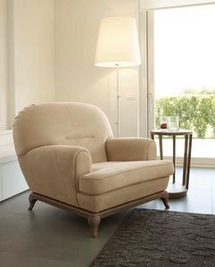 Massenet armchair, Rounded armchair, with wooden base