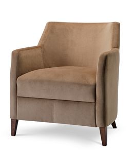 MILANO LOUNGE 1, Armchair covered in velvet with wooden legs
