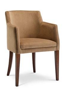 MILANO P, Velvet armchair with wooden legs