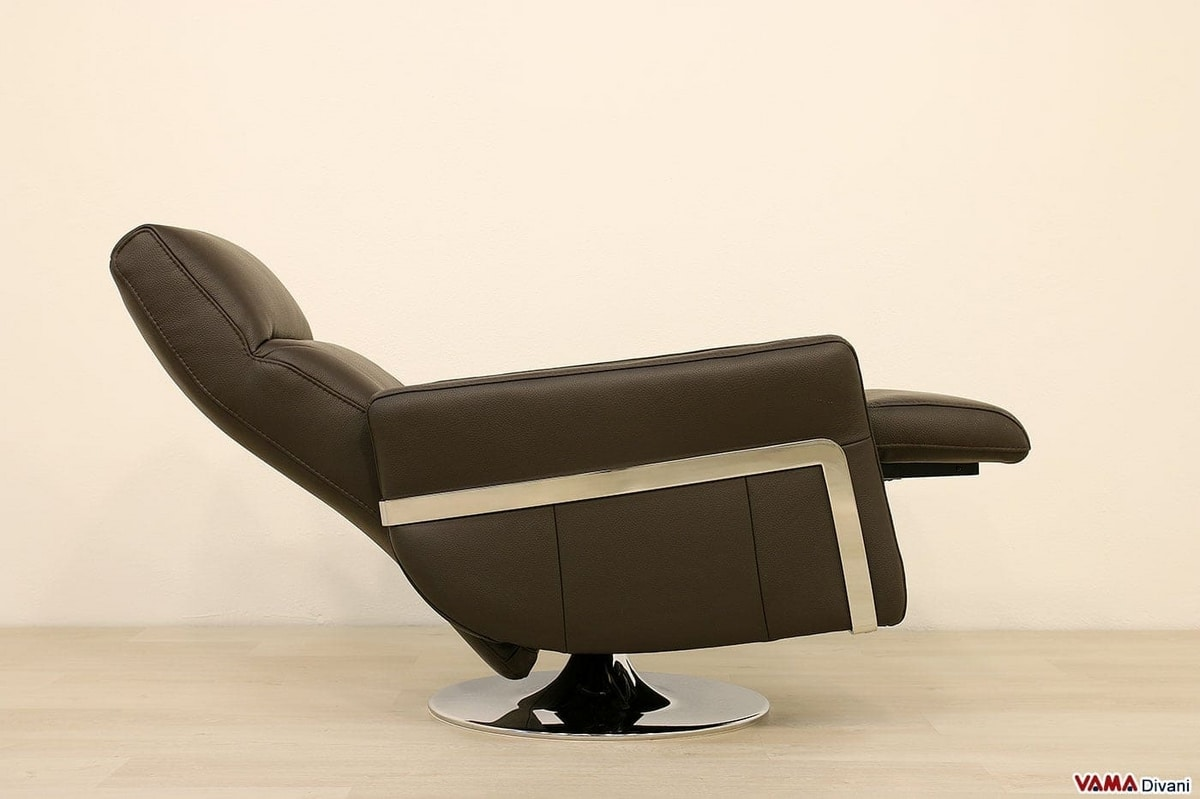 Nikita, Relax armchair, with swivel base in chromed steel