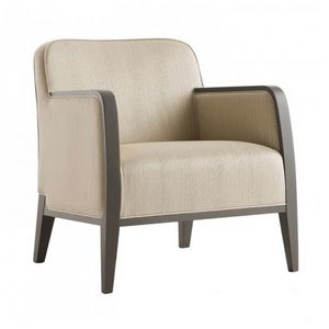Opera 02241, Armchair in solid wood, upholstered seat and back, fabric covering, modern style