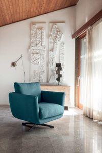 OPERA, Swivel fabric armchair