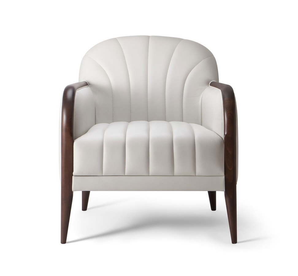 PARIGI LOUNGE CHAIR 038 P, Armchair with visible stitching