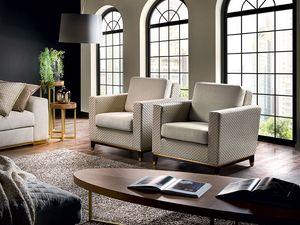 Parioli armchair, Armchair with goose down cushion