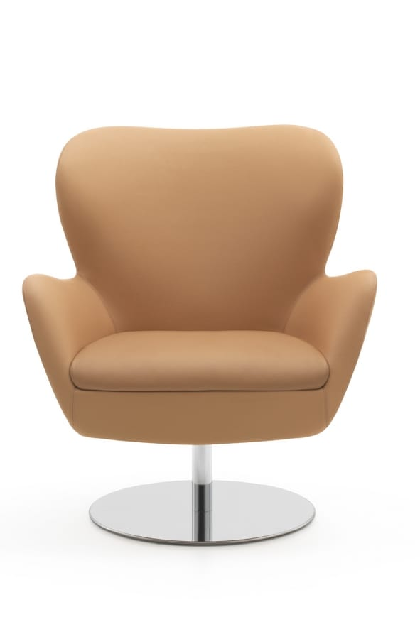PL 4999, Rounded swivel armchair with chrome base