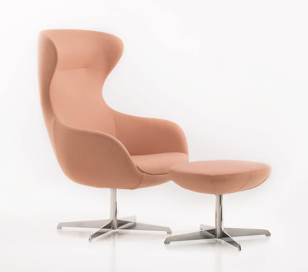 PL 5001, Armchair with base in steel, with high back