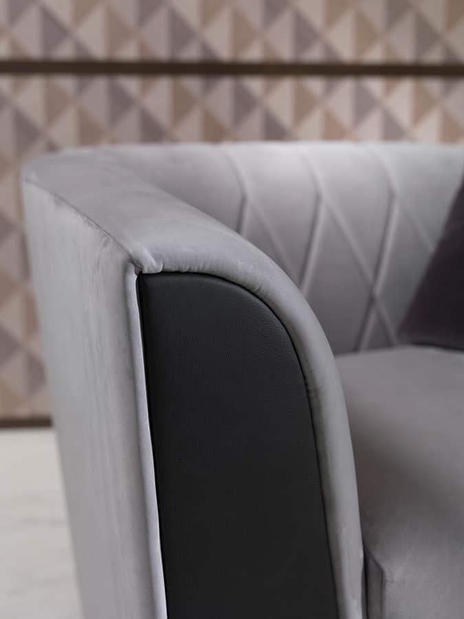 PO63 Madison armchair, Armchair with fabric upholstery, with rhombic texturee backrest